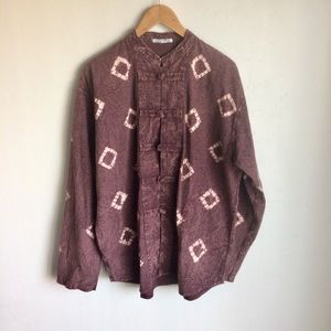 Jackets & Blazers - Plum Tie Dye Jacket Cream Triangles Fabric Buttons